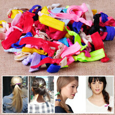 100Pcs Candy Elastic Ponytail Holder Girls Ribbon Hair Ties Knotted Hairband