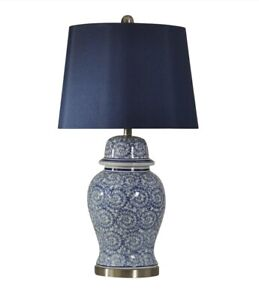 StyleCraft L310550DS 31 in. Blue Ivy Table Lamp with Fabric Shade