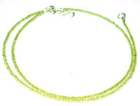 """925 Sterling Silver 12-36"""" Strand Necklace Green Peridot Round 2 mm Beads UYT02"""