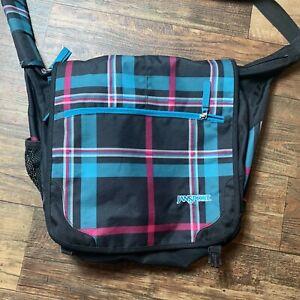 Jansport Laptop Messenger Shoulder Bag Teal Pink Plaid School Student Bag
