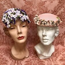 Lot-2) Vtg Frou-Frou 1950s Hats Delicate *Violets & Berries Pink Lily-Of-Valley
