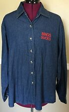 Women's Port & Company Blue Jean Denim Bingo Sucks Button Front Shirt Size 2XL