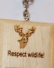 Pine Wooden Keychain Laser Engraved, Personalize for Hunters, Trophy, Deer, Duck