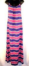 Tommy Bahama Womens Maxi Dress Medium Purple Paint Stripe Open Back Long $104