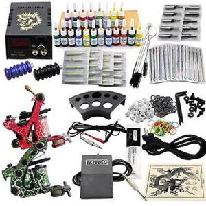 Professional Complete Tatoo Kit 2 Gun Machine Power Supply 50 Needles 20 Inks UK
