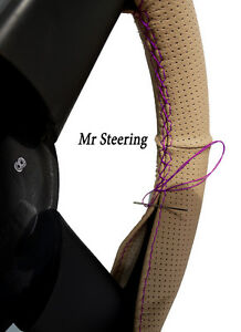 FITS MERCEDES ML BEIGE PERFORATED LEATHER STEERING WHEEL COVER PURPLE STITCHING