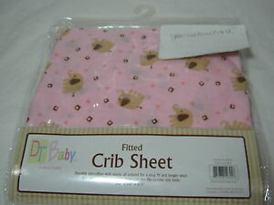 DT Baby By David Textiles Crib Fitted Sheet - Elephants - Pink/Brown 28x52x5.5