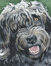 Labradoodle Dog Watercolor 8 x 10 Art Print Signed by Artist Dj Rogers