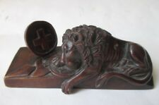 Antique Carved Wood Lion of Lucerne sculpture