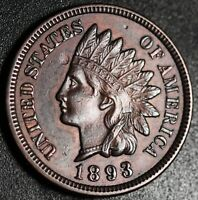 1893 INDIAN HEAD CENT - AU UNC - With REPUNCHED DATE *SNOW-3* RPD