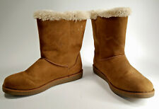 Airwalk Woman Winter Boot 10 Slip On Faux Leather Fur Suede Warm Outdoor Tan