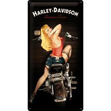 Harley-davidson Biker Babe Reproduction Vintage Style Metal Sign 25cm X 50cm