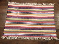 """Vintage Avoca Handweavers 100% Wool Throw Blanket Fringe 40""""x52"""" Stripes Nice!"""