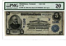 "1902 $5 Natl BN ""DB"" The NB Middlebury, VT  Fr# 590  Ch# N1195  PMG 20  19-C494"