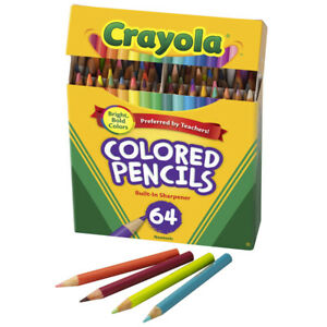 Crayola Short Colored Pencils, 64 Count with Sharpener