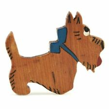 Scotty Dog Scottish Terrier Pin Folk Art Vintage Brooch Wooden   2 34 1940S