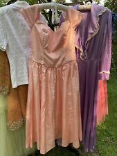 1940's 1950's pink taffeta gown party dress