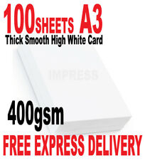 A3 400GSM QUALITY HIGH WHITE SMOOTH CARD X 100 SHEETS