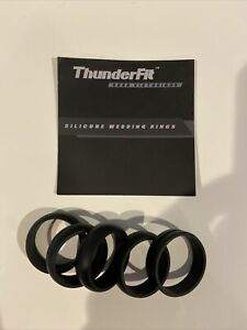 ThunderFit Silicone Wedding Ring for Men - 5 Rings Black Size 16