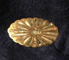 Vtg Brass & Abelone Oval Belt Buckle Mexico