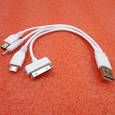 4 in 1 Car USB 2.0 Sync DATA Charger Cable for iphone Samsung S4 htc&Nokia