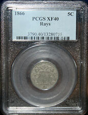 #~☆RAYS☆~ 1866 Shield Nickel PCGS XF-40  LISTED AT A GREAT PRICE!!!!