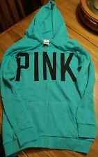 Victoria's Secret PINK turquoise tunic length Terry hoodie XS NEW
