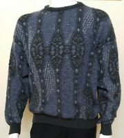 Vtg Jantzen Mens Sweater Sz L Grandpa Crew Pullover Blue Stripe Oversize Acrylic