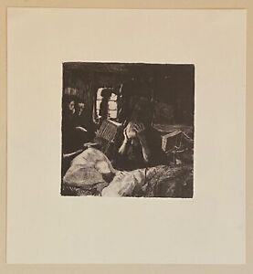 "Kathe Kollwitz Original Etching from the Weavers Revolt Series, ""Need"" - 1893"