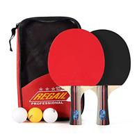 2 Professional Table Tennis Racket Two Ping Pong Paddle Bat + 3 Balls Bag Set UK
