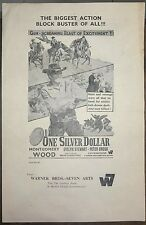 """1973 One Silver Dollar double sheet India pressbook 9"""" x 14"""" Montgomery Wood"""