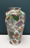 Vintage Oriental Chinese Fruit Embossed Large Decorative Vase Pot