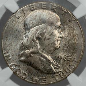 1963 FRANKLIN HALF DOLLAR SILVER NGC MS64 UNC CHOICE BU GOLDEN TONED COLOR (DR)