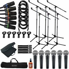 Shure SM58 Dynamic Handheld Vocal Microphones 6 Pack w Boom Stands & XLR Cables