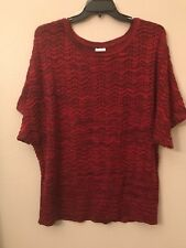 NWT Kim Rogers Women's Plus 2X Red Eyelet Wave Sparkle Trendy Sexy Sweater