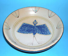 Studio Pottery Quality Stoneware Hand Thrown & Painted Three Footed Dish -Marked