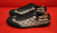 $659.00 !! GUCCI LOGO BLUE GG  MEN'S  LEATHER CANVAS  SNEAKERS SHOES SIZE 10.5 G