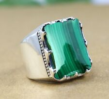 Solid 925 Sterling Silver Malachite Gemstone Designer Mens Ring Size 6 to 14