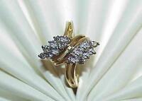 10K .50ct 16 Diamond Bypass Cocktail Ring Yellow Gold Sz 6 3/4 Modernist