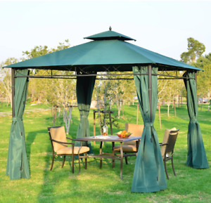 Outsunny Outdoor Garden 3m x3m Gazebo with Metal Frame & Side Walls Dark Green