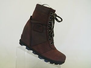 Sorel Burgundy Leather Laces Hidden Wedge Ankle Snow Boots Bootie Size 9 M