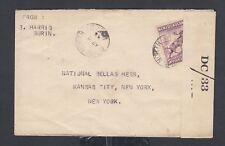 NEWFOUNDLAND 1944 WWII CENSORED 5C CARIBOU COVER BURIN NORTH TO NEW YORK USA