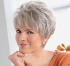 Women ladies Wig Short Straight Silver Grey Classic Synthetic Hair Wigs