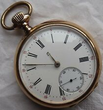 Omega XFine Chronometer Pocket Watch open face 18K solid gold case enamel dial