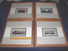 Set Of 4 Wall Hanging Ho Scale Model Train Set Wood Glass Framed Matted