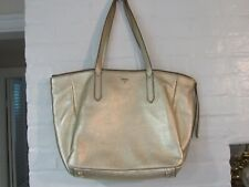 Fossil SYDNEY Shopper Tote Two Strap Zipper Top Gold Pebbled Leather SUPER MINT