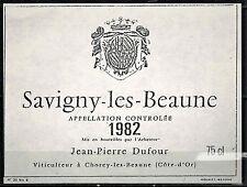 Savigny les Beaune-1982-Etiquette de vin Bourgogne-Viticulteur-Dufour-Réf.158