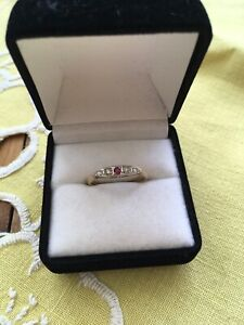Vintage Antique Ring Pave Set Ruby And Diamond 18ct Gold L 1/2