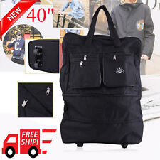 """30"""" Rolling Wheeled Tote Duffle Bag Luggage Travel Duffle Suitcase Black New VIP"""