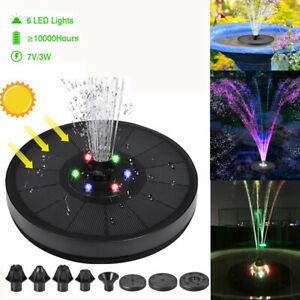2021 Solar Water Fountain Pump Bird Bath Floating Garden Pond Pool Outdoor w/LED
